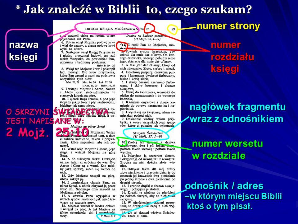 * Jak znaleźć w Biblii to, czego szukam? O SKRZYNI ŚWIADECTWA JEST NAPISANE W / POD ADRESEM: 2 Ks. Mojż. 25:10 2 Ks. Mojż. 25:10 nazwa księgi rozdział