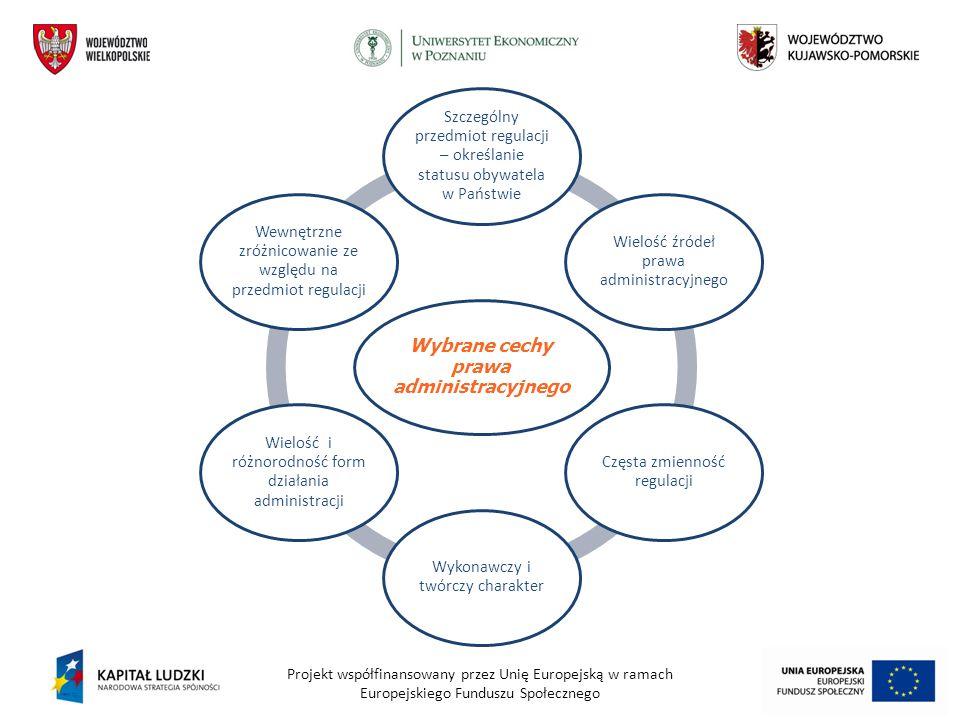 Projekt współfinansowany przez Unię Europejską w ramach Europejskiego Funduszu Społecznego Wybrane cechy prawa administracyjnego Szczególny przedmiot