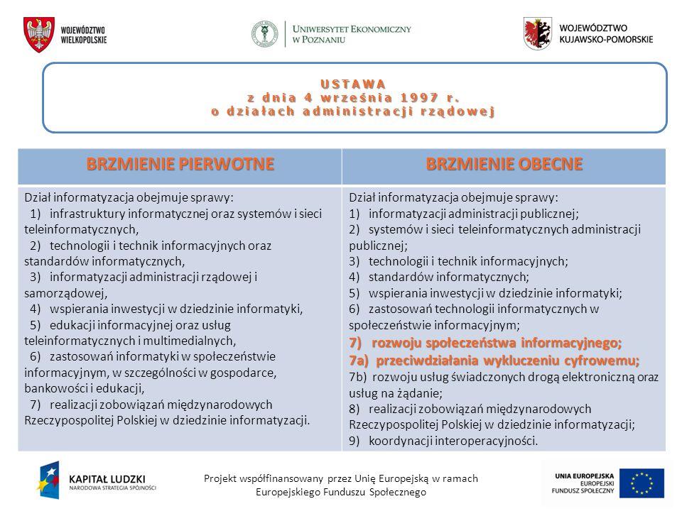 Projekt współfinansowany przez Unię Europejską w ramach Europejskiego Funduszu Społecznego USTAWA z dnia 4 września 1997 r. o działach administracji r