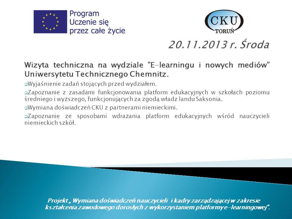 Wizyta techniczna na wydziale E-learningu i nowych mediów Uniwersytetu Technicznego Chemnitz.