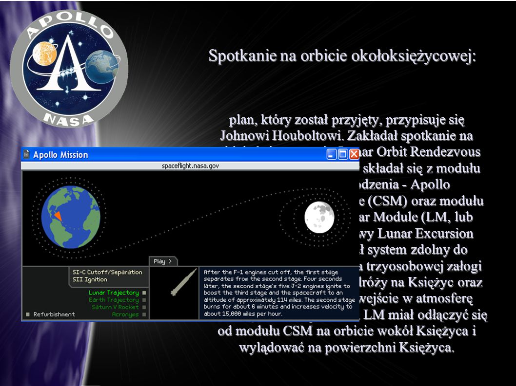 Spotkanie na orbicie okołoksiężycowej: plan, który został przyjęty, przypisuje się Johnowi Houboltowi. Zakładał spotkanie na orbicie księżycowej - Lun