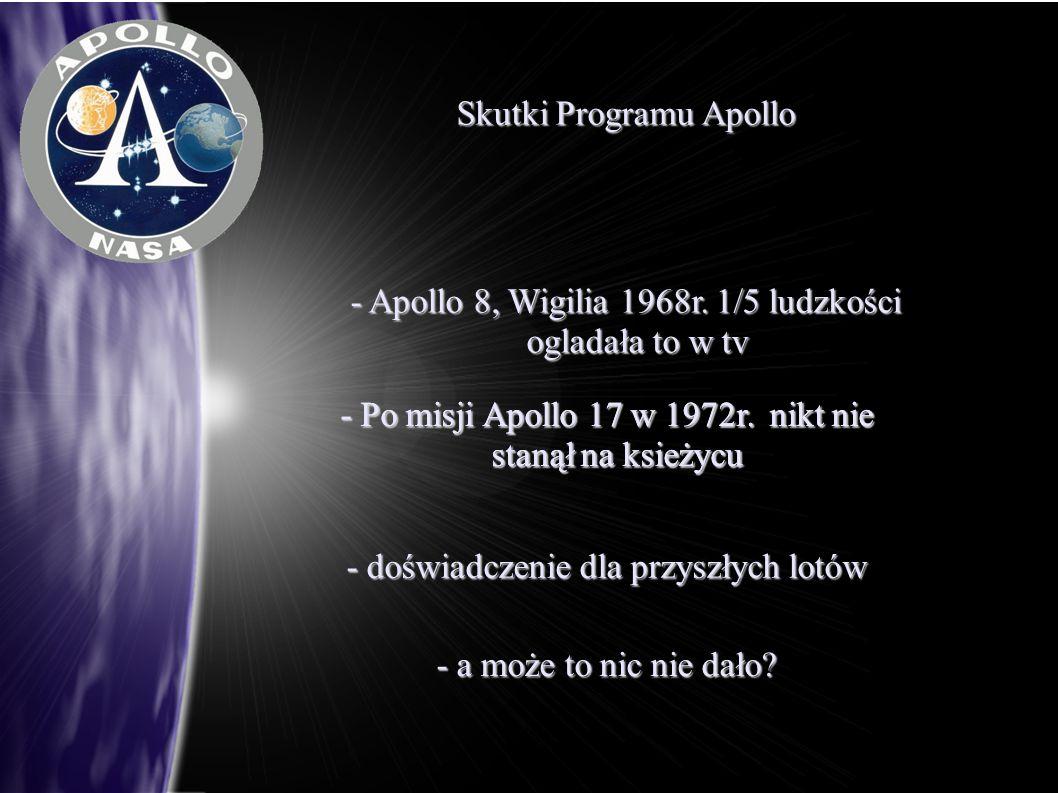 Skutki Programu Apollo - Apollo 8, Wigilia 1968r. 1/5 ludzkości ogladała to w tv - Po misji Apollo 17 w 1972r. nikt nie stanął na ksieżycu - doświadcz
