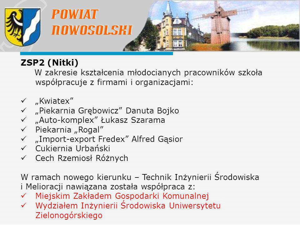 """ZSP2 (Nitki) W zakresie kształcenia młodocianych pracowników szkoła współpracuje z firmami i organizacjami: """"Kwiatex"""" """"Piekarnia Grębowicz"""" Danuta Boj"""