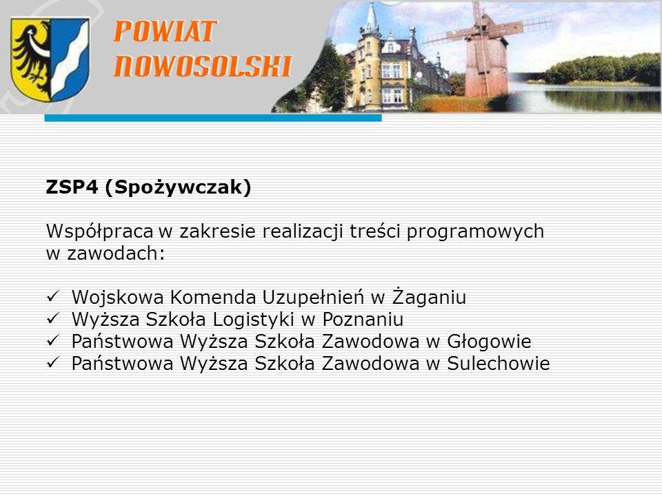ZSP4 (Spożywczak) Współpraca w zakresie realizacji treści programowych w zawodach: Wojskowa Komenda Uzupełnień w Żaganiu Wyższa Szkoła Logistyki w Poz