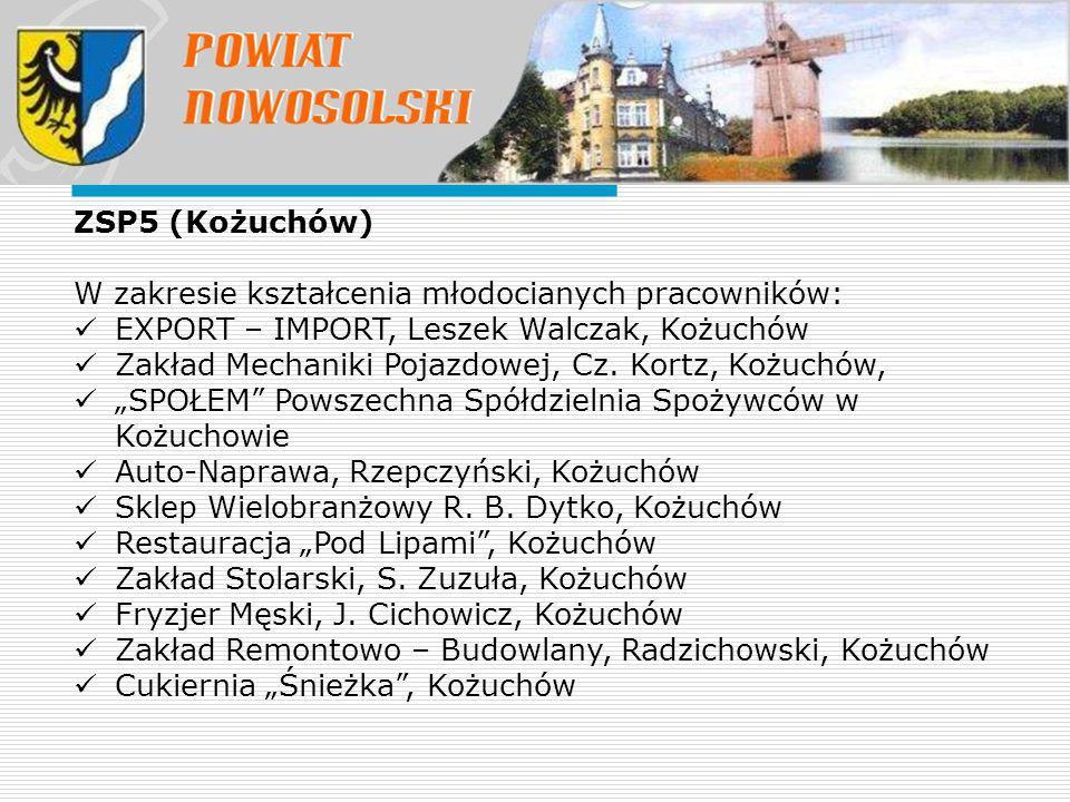 ZSP5 (Kożuchów) W zakresie kształcenia młodocianych pracowników: EXPORT – IMPORT, Leszek Walczak, Kożuchów Zakład Mechaniki Pojazdowej, Cz.