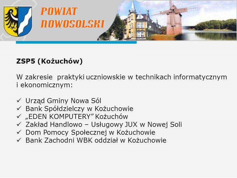 """ZSP5 (Kożuchów) W zakresie praktyki uczniowskie w technikach informatycznym i ekonomicznym: Urząd Gminy Nowa Sól Bank Spółdzielczy w Kożuchowie """"EDEN"""