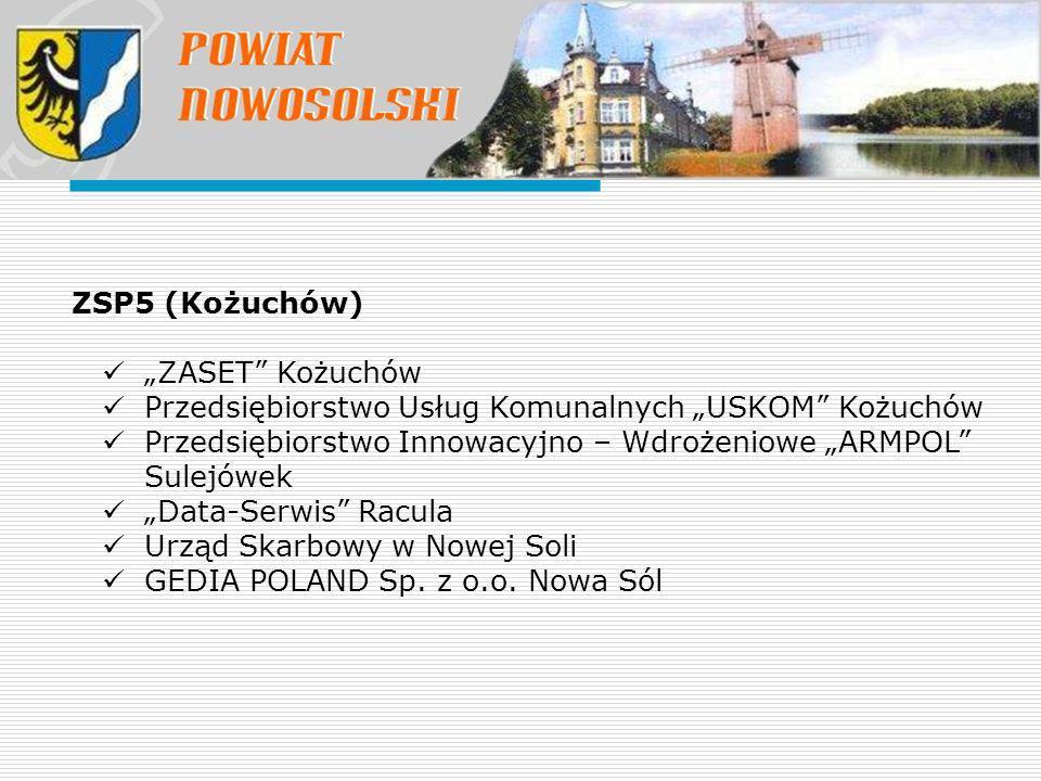 """ZSP5 (Kożuchów) """"ZASET"""" Kożuchów Przedsiębiorstwo Usług Komunalnych """"USKOM"""" Kożuchów Przedsiębiorstwo Innowacyjno – Wdrożeniowe """"ARMPOL"""" Sulejówek """"Da"""