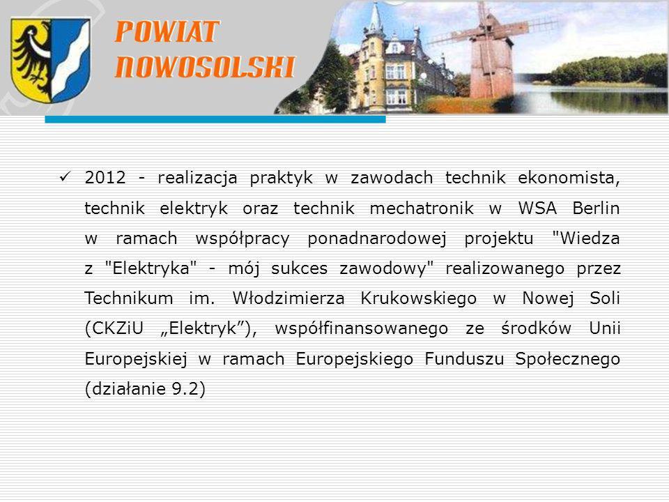2012 - realizacja praktyk w zawodach technik ekonomista, technik elektryk oraz technik mechatronik w WSA Berlin w ramach współpracy ponadnarodowej pro