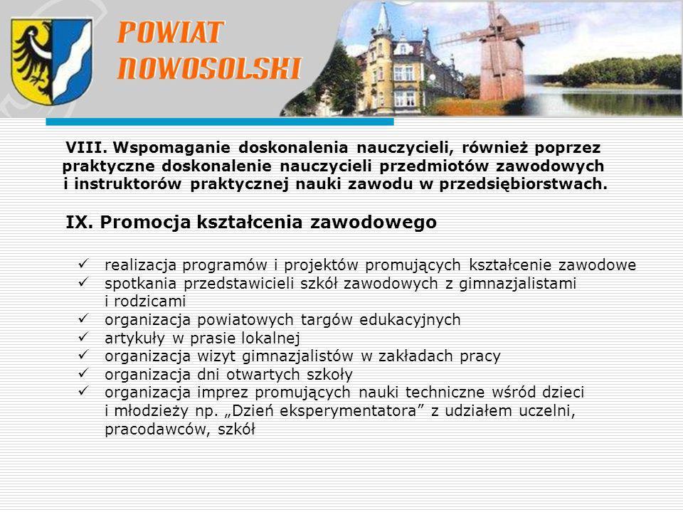 IX. Promocja kształcenia zawodowego VIII. Wspomaganie doskonalenia nauczycieli, również poprzez praktyczne doskonalenie nauczycieli przedmiotów zawodo