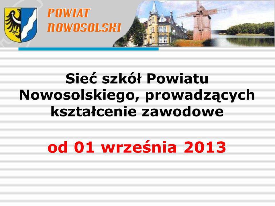 Sieć szkół Powiatu Nowosolskiego, prowadzących kształcenie zawodowe od 01 września 2013