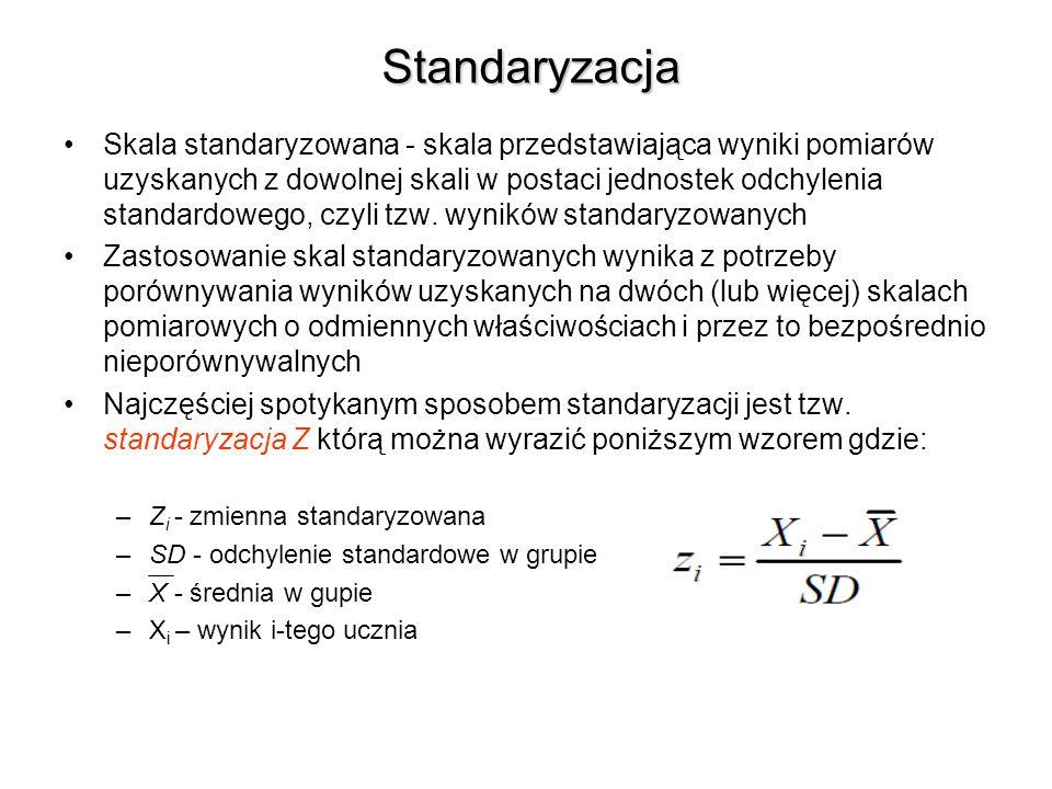 Standaryzacja Skala standaryzowana - skala przedstawiająca wyniki pomiarów uzyskanych z dowolnej skali w postaci jednostek odchylenia standardowego, czyli tzw.
