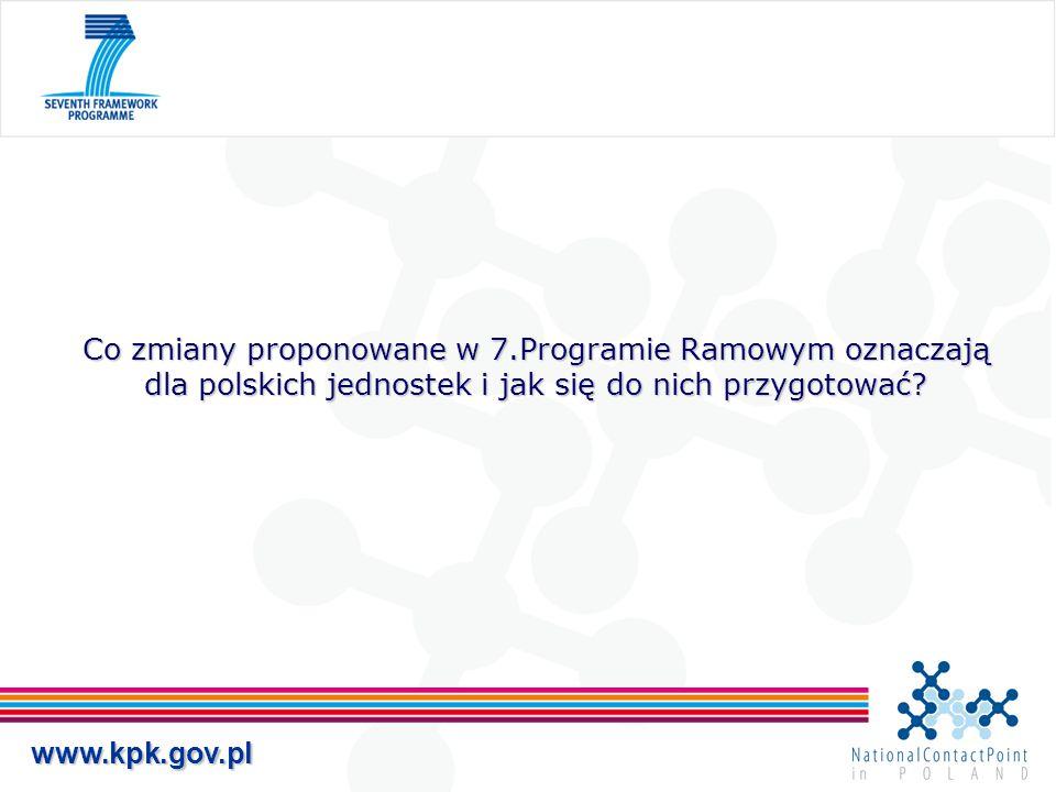 www.kpk.gov.pl Co zmiany proponowane w 7.Programie Ramowym oznaczają dla polskich jednostek i jak się do nich przygotować?