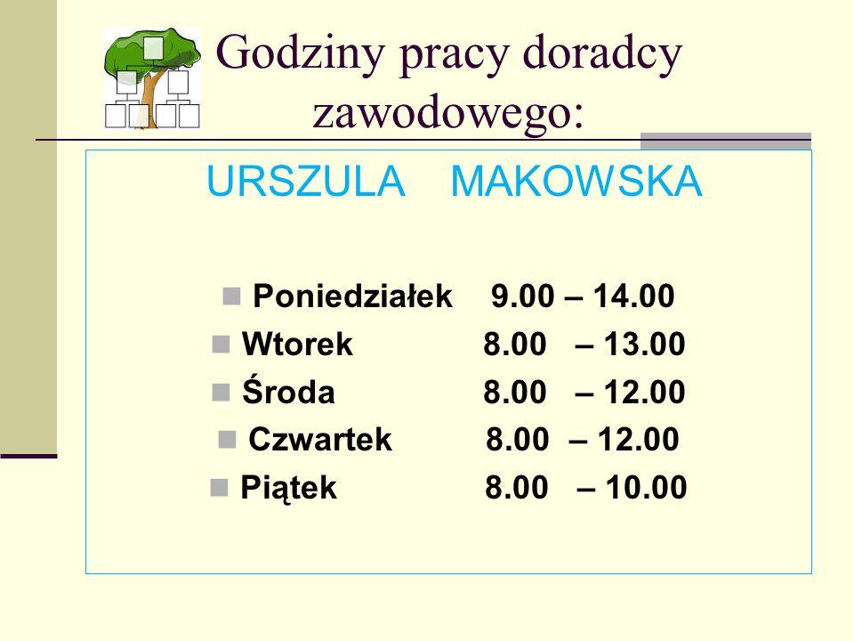 Godziny pracy doradcy zawodowego: URSZULA MAKOWSKA Poniedziałek 9.00 – 14.00 Wtorek 8.00 – 13.00 Środa 8.00 – 12.00 Czwartek 8.00 – 12.00 Piątek 8.00 – 10.00