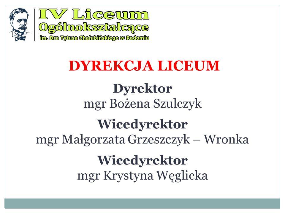 DYREKCJA LICEUM Dyrektor mgr Bożena Szulczyk Wicedyrektor mgr Małgorzata Grzeszczyk – Wronka Wicedyrektor mgr Krystyna Węglicka