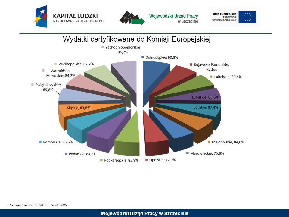 Wojewódzki Urząd Pracy w Szczecinie Wydatki certyfikowane do Komisji Europejskiej Stan na dzień: 31.10.2014 r.