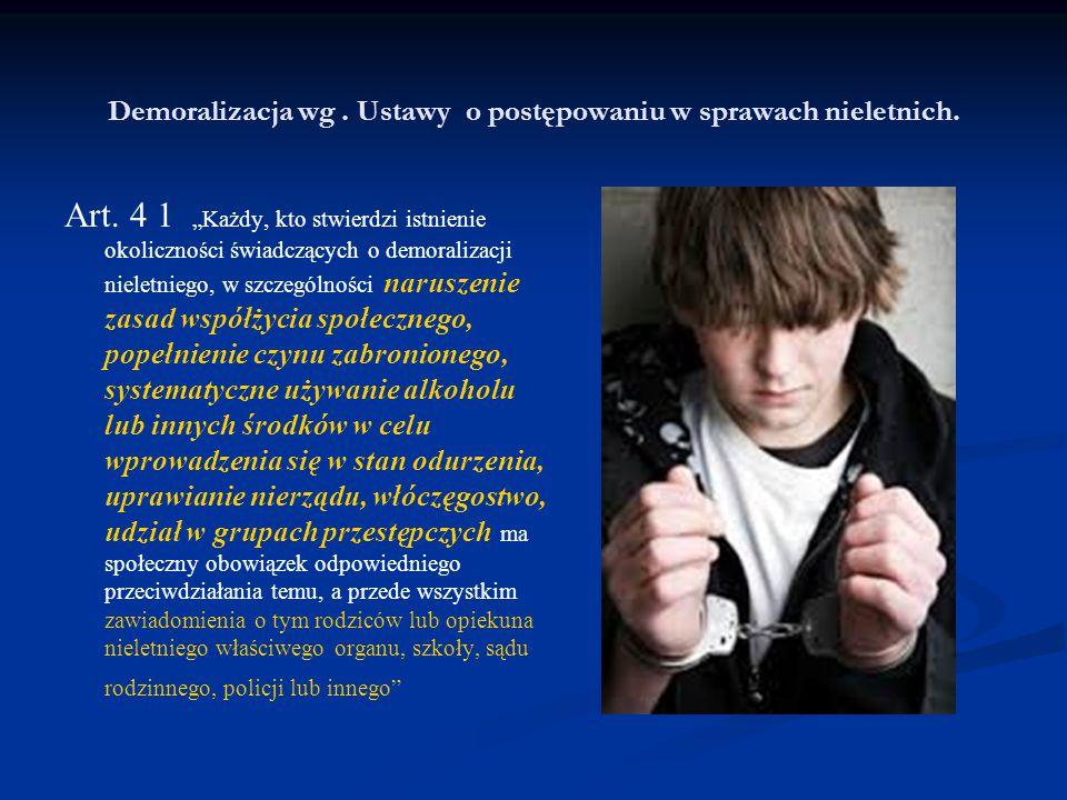 """Demoralizacja wg. Ustawy o postępowaniu w sprawach nieletnich. Art. 4 1 """"Każdy, kto stwierdzi istnienie okoliczności świadczących o demoralizacji niel"""