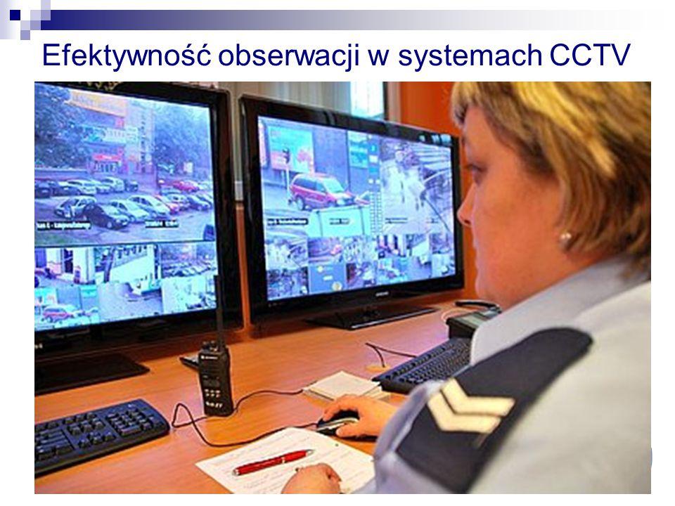Efektywność obserwacji w systemach CCTV Raport 2005 r. Home Office Scientific Development Branch (HOSDB) - brak wyznaczonych celów nadzoru - operatorz