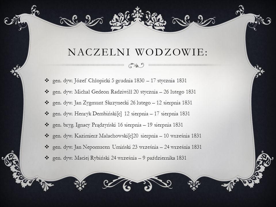 NACZELNI WODZOWIE:  gen. dyw. Józef Chłopicki 5 grudnia 1830 – 17 stycznia 1831  gen. dyw. Michał Gedeon Radziwiłł 20 stycznia – 26 lutego 1831  ge