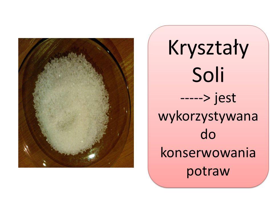 Kryształy Soli -----> jest wykorzystywana do konserwowania potraw Kryształy Soli -----> jest wykorzystywana do konserwowania potraw