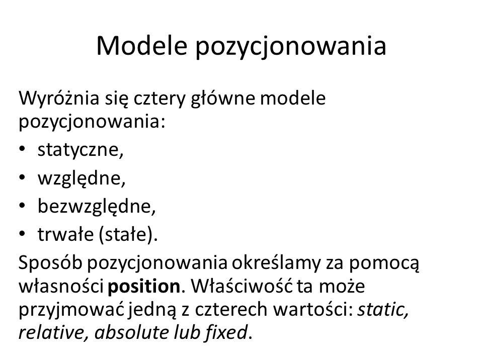 Modele pozycjonowania Wyróżnia się cztery główne modele pozycjonowania: statyczne, względne, bezwzględne, trwałe (stałe). Sposób pozycjonowania określ