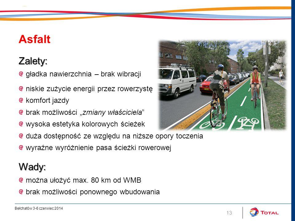 """13 AsfaltZalety: gładka nawierzchnia – brak wibracji niskie zużycie energii przez rowerzystę komfort jazdy brak możliwości """"zmiany właściciela wysoka estetyka kolorowych ścieżek duża dostępność ze względu na niższe opory toczenia wyraźne wyróżnienie pasa ścieżki rowerowejWady: można ułożyć max."""