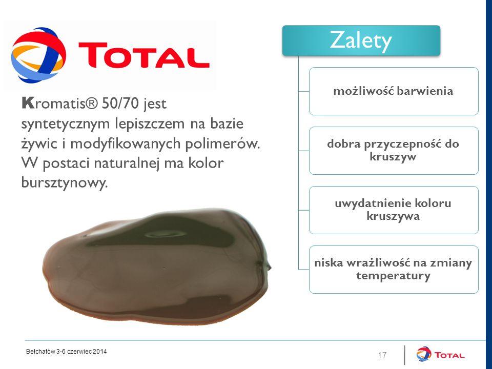 17 Zalety możliwość barwienia dobra przyczepność do kruszyw uwydatnienie koloru kruszywa niska wrażliwość na zmiany temperatury K romatis® 50/70 jest syntetycznym lepiszczem na bazie żywic i modyfikowanych polimerów.
