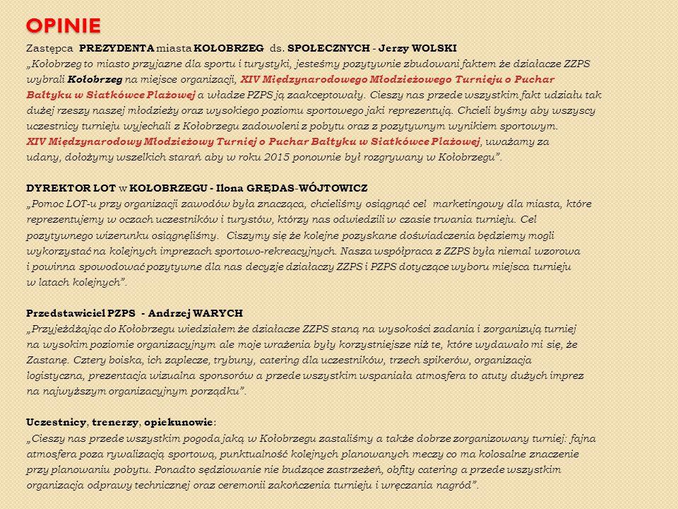 """OPINIE Zastępca PREZYDENTA miasta KOŁOBRZEG ds. SPOŁECZNYCH - Jerzy WOLSKI """"Kołobrzeg to miasto przyjazne dla sportu i turystyki, jesteśmy pozytywnie"""