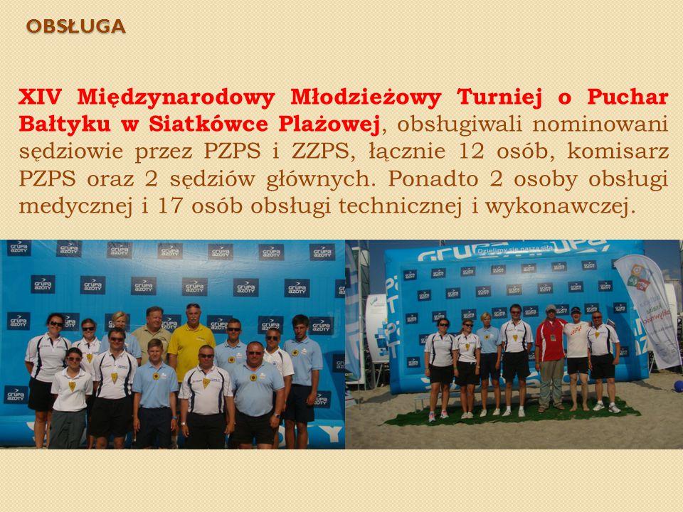 OBSŁUGA XIV Międzynarodowy Młodzieżowy Turniej o Puchar Bałtyku w Siatkówce Plażowej, obsługiwali nominowani sędziowie przez PZPS i ZZPS, łącznie 12 o