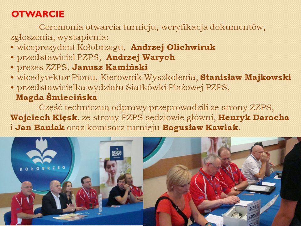 OTWARCIE Ceremonia otwarcia turnieju, weryfikacja dokumentów, zgłoszenia, wystąpienia: wiceprezydent Kołobrzegu, Andrzej Olichwiruk przedstawiciel PZP