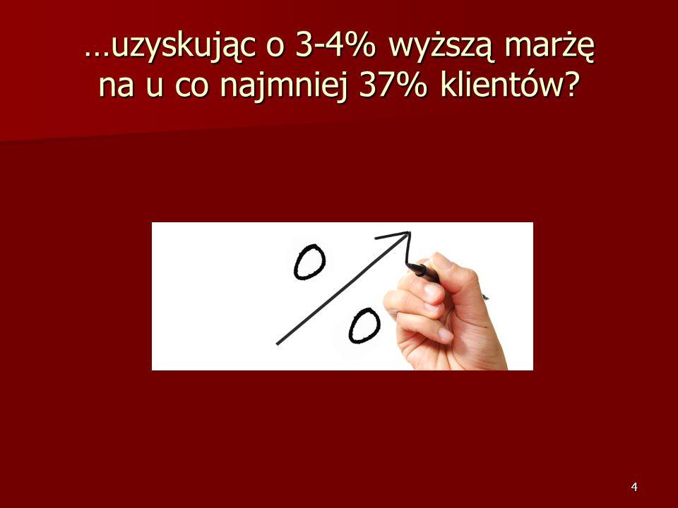 4 …uzyskując o 3-4% wyższą marżę na u co najmniej 37% klientów?