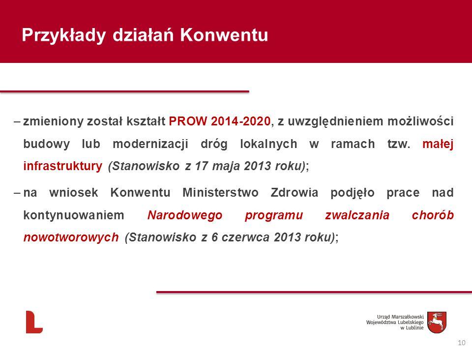 10 Przykłady działań Konwentu –zmieniony został kształt PROW 2014-2020, z uwzględnieniem możliwości budowy lub modernizacji dróg lokalnych w ramach tz