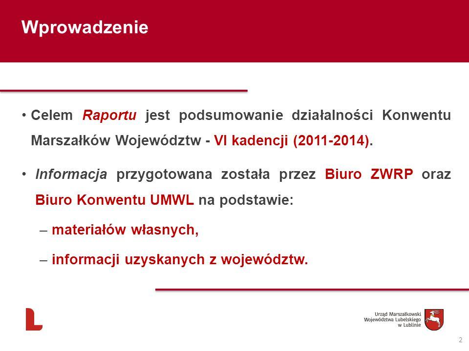 2 Wprowadzenie Celem Raportu jest podsumowanie działalności Konwentu Marszałków Województw - VI kadencji (2011-2014). Informacja przygotowana została