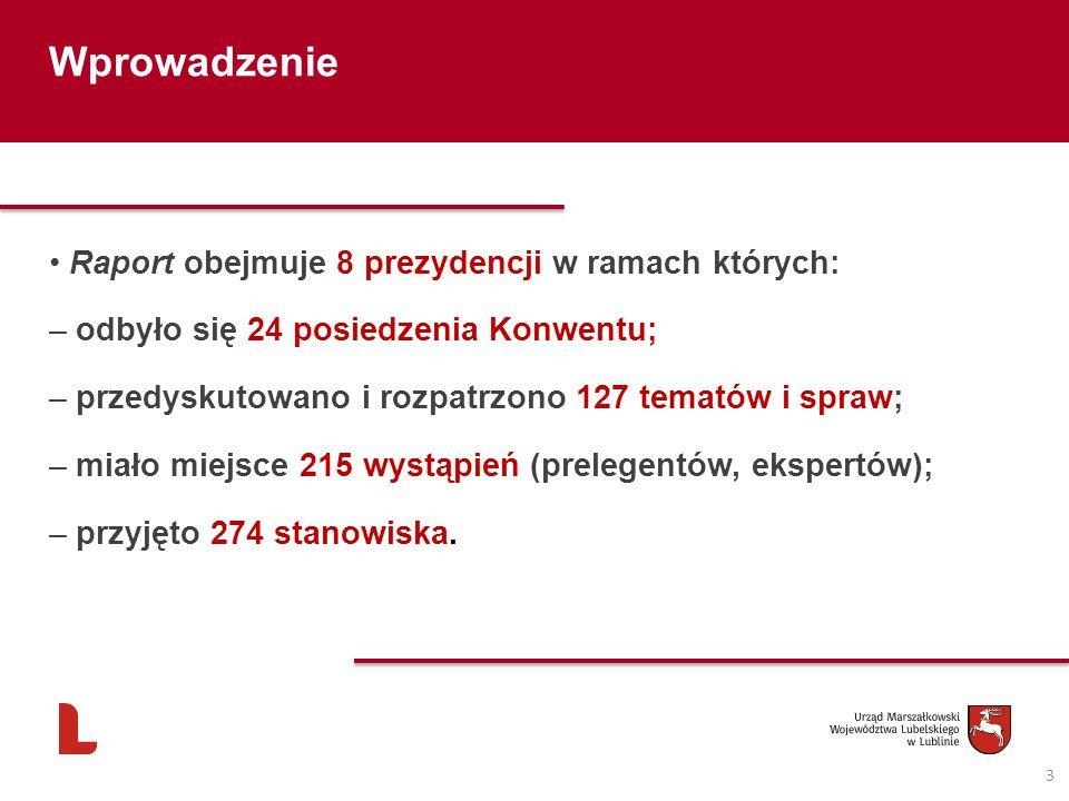 3 Wprowadzenie Raport obejmuje 8 prezydencji w ramach których: – odbyło się 24 posiedzenia Konwentu; – przedyskutowano i rozpatrzono 127 tematów i spraw; – miało miejsce 215 wystąpień (prelegentów, ekspertów); – przyjęto 274 stanowiska.