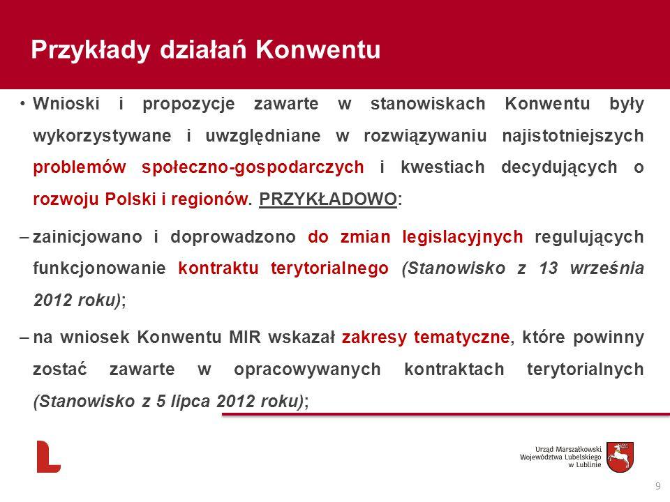 9 Przykłady działań Konwentu Wnioski i propozycje zawarte w stanowiskach Konwentu były wykorzystywane i uwzględniane w rozwiązywaniu najistotniejszych problemów społeczno-gospodarczych i kwestiach decydujących o rozwoju Polski i regionów.