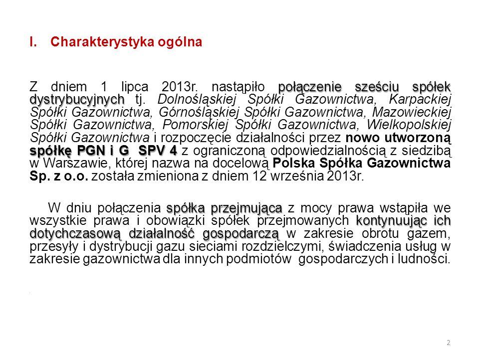 I.Charakterystyka ogólna połączenie sześciu spółek dystrybucyjnych spółkę PGN i G SPV 4 Z dniem 1 lipca 2013r. nastąpiło połączenie sześciu spółek dys