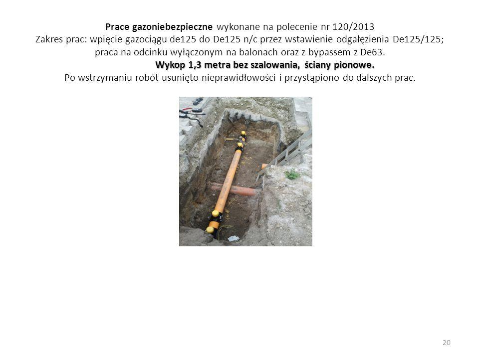 Wykop 1,3 metra bez szalowania, ściany pionowe. Prace gazoniebezpieczne wykonane na polecenie nr 120/2013 Zakres prac: wpięcie gazociągu de125 do De12