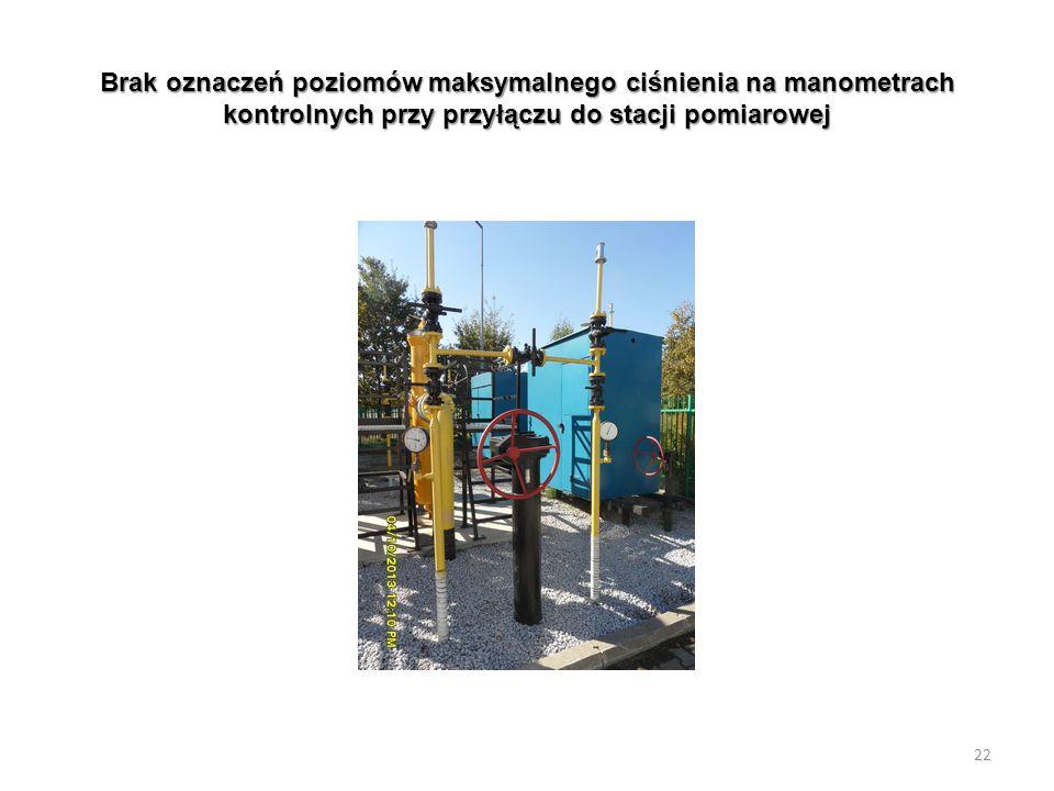 Brak oznaczeń poziomów maksymalnego ciśnienia na manometrach kontrolnych przy przyłączu do stacji pomiarowej 22