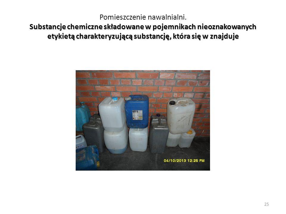 Substancje chemiczne składowane w pojemnikach nieoznakowanych etykietą charakteryzującą substancję, która się w znajduje Pomieszczenie nawalnialni. Su