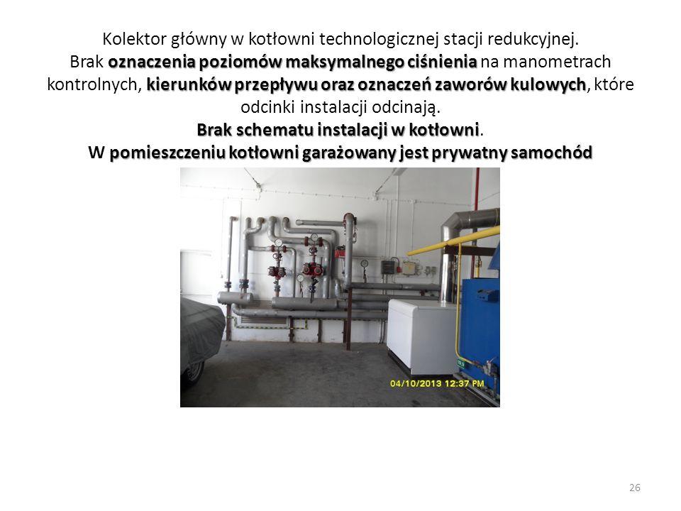 oznaczenia poziomów maksymalnego ciśnienia kierunków przepływu oraz oznaczeń zaworów kulowych Brak schematu instalacji w kotłowni pomieszczeniu kotłow
