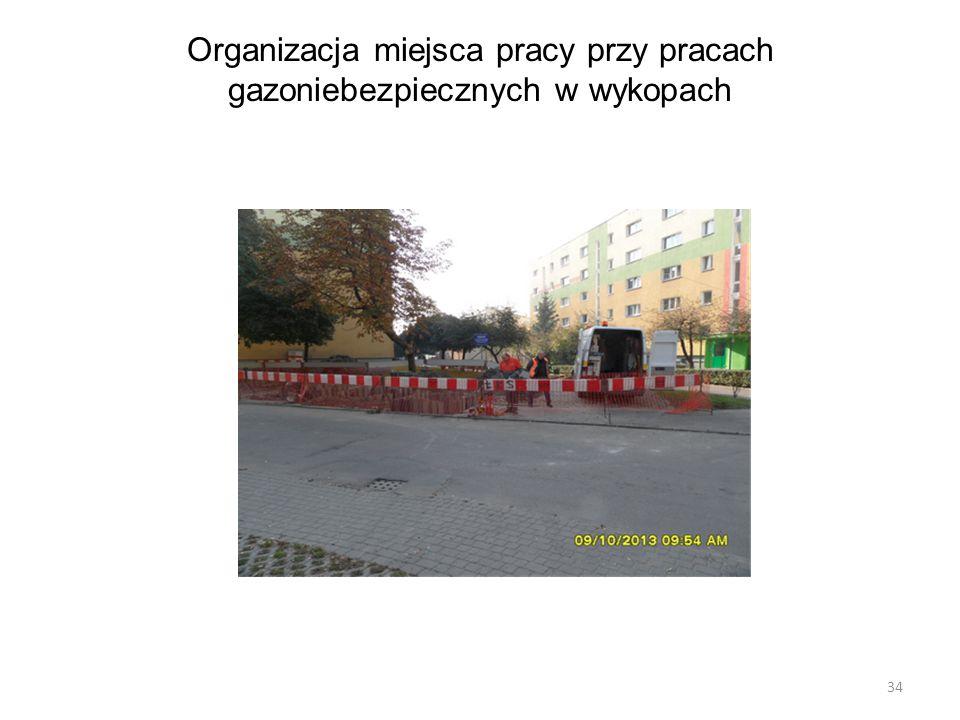 Organizacja miejsca pracy przy pracach gazoniebezpiecznych w wykopach 34