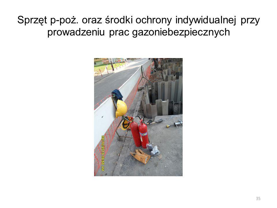 Sprzęt p-poż. oraz środki ochrony indywidualnej przy prowadzeniu prac gazoniebezpiecznych 35