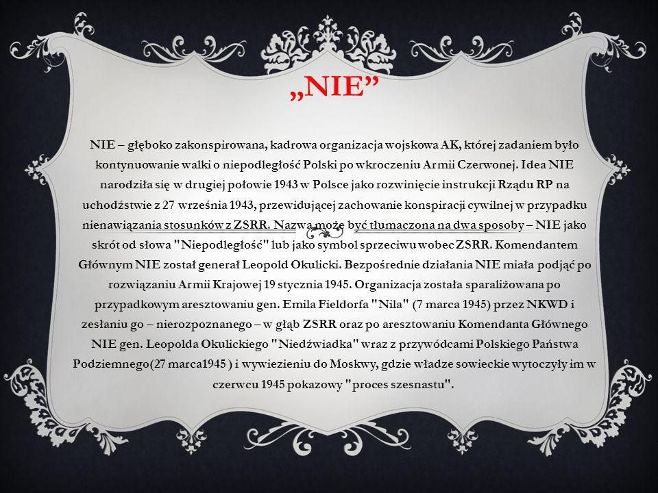 """""""NIE"""" NIE – głęboko zakonspirowana, kadrowa organizacja wojskowa AK, której zadaniem było kontynuowanie walki o niepodległość Polski po wkroczeniu Arm"""