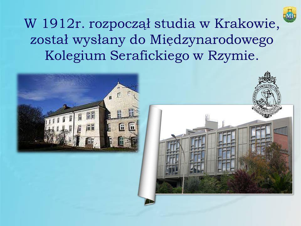 W 1912r. rozpoczął studia w Krakowie, został wysłany do Międzynarodowego Kolegium Serafickiego w Rzymie.