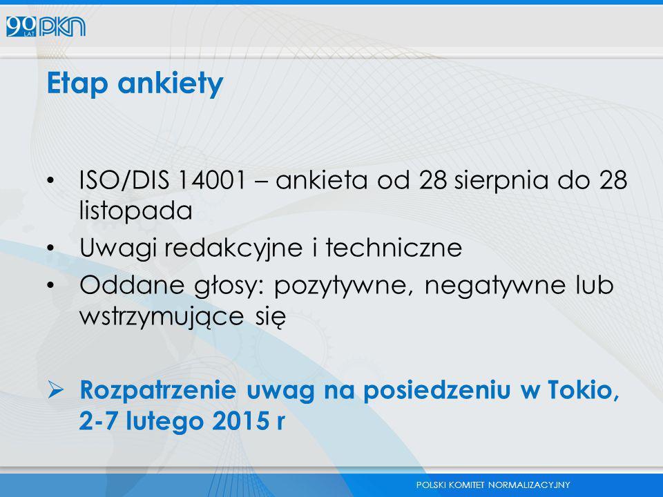 POLSKI KOMITET NORMALIZACYJNY Etap ankiety ISO/DIS 14001 – ankieta od 28 sierpnia do 28 listopada Uwagi redakcyjne i techniczne Oddane głosy: pozytywn
