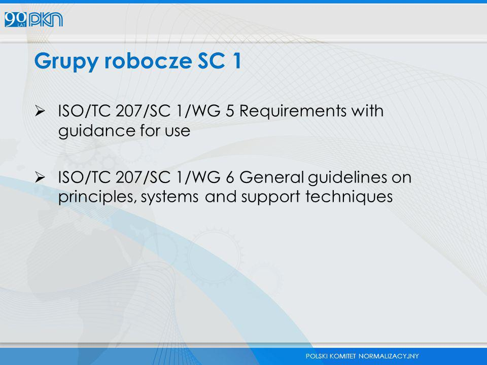 POLSKI KOMITET NORMALIZACYJNY Grupy robocze SC 1  ISO/TC 207/SC 1/WG 5 Requirements with guidance for use  ISO/TC 207/SC 1/WG 6 General guidelines o