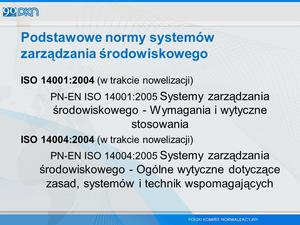 POLSKI KOMITET NORMALIZACYJNY Podstawowe normy systemów zarządzania środowiskowego ISO 14001:2004 (w trakcie nowelizacji) PN-EN ISO 14001:2005 Systemy