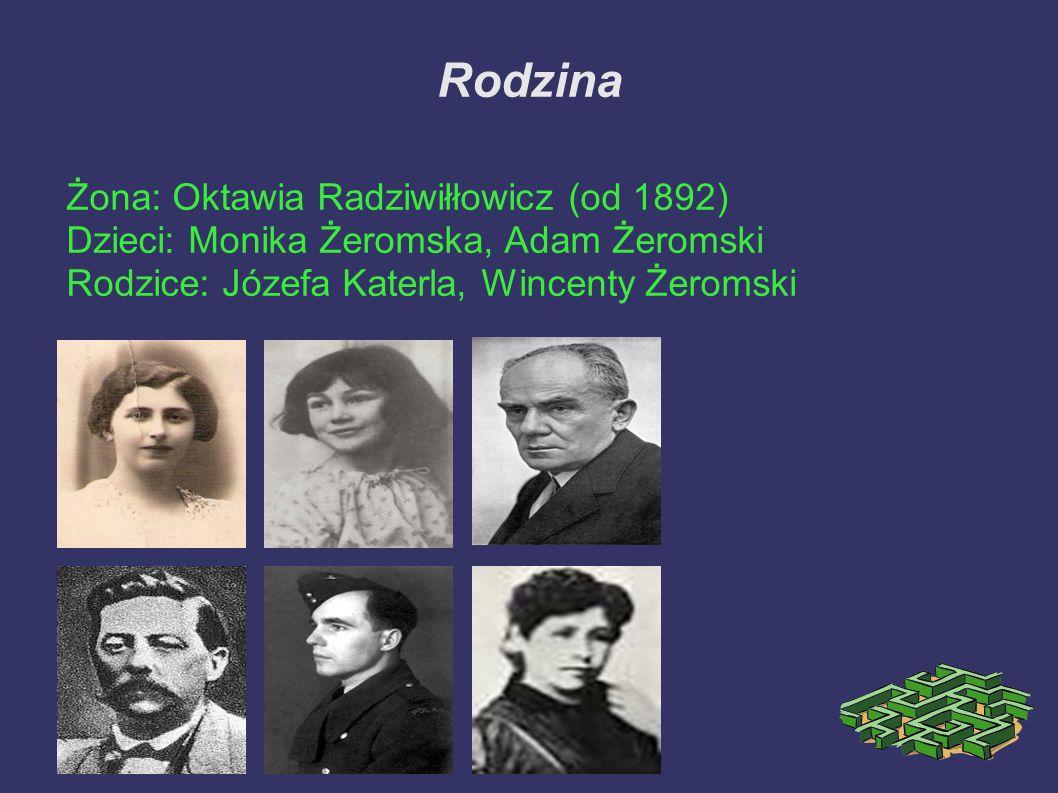 Rodzina Żona: Oktawia Radziwiłłowicz (od 1892) Dzieci: Monika Żeromska, Adam Żeromski Rodzice: Józefa Katerla, Wincenty Żeromski