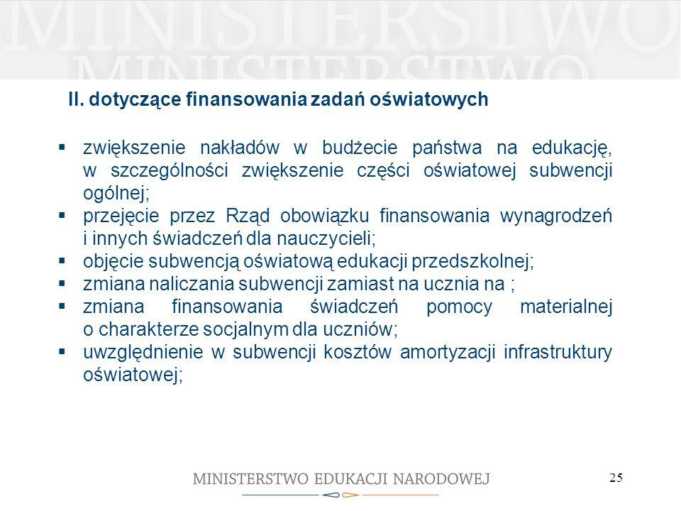 25 II. dotyczące finansowania zadań oświatowych  zwiększenie nakładów w budżecie państwa na edukację, w szczególności zwiększenie części oświatowej s