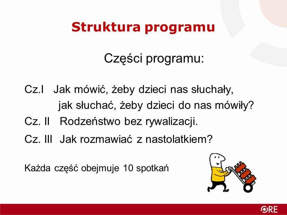 Struktura programu Części programu: Cz.I Jak mówić, żeby dzieci nas słuchały, jak słuchać, żeby dzieci do nas mówiły.