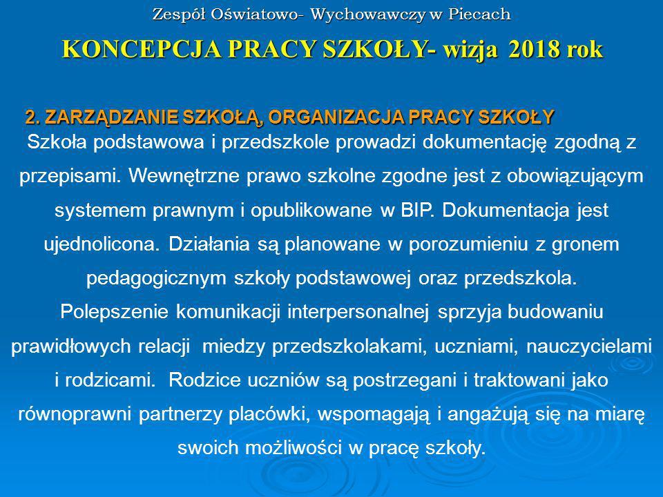 Zespół Oświatowo- Wychowawczy w Piecach KONCEPCJA PRACY SZKOŁY- wizja 2018 rok 3.